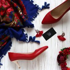 Туфли из красной кожи на шпильке с острым носиком Арт. 657-1/36