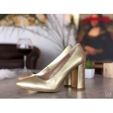 Туфли из натурального велюра золотого цвета Арт. 35-1/44Ок