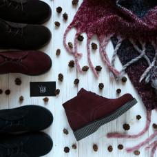 Подростковые ботинки на шнуровке из бордовой замши Арт. К-2/2
