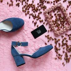 Босоножки из замши цвета джинс на низком каблуке Арт. 605-6/45Ок