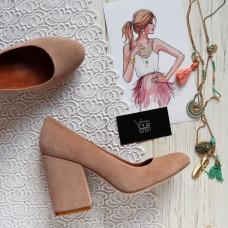 Туфли из замши цвета бледный персик на устойчивом каблуке Арт. 95-1/49Ок