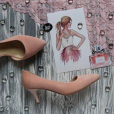 Туфли из велюра цвета персик на шпильке с острым носиком Арт. 657-2/36