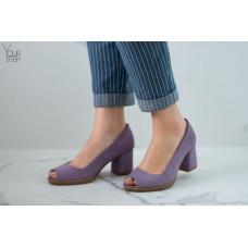 Туфли из лиловой замши на низком каблуке Арт. 605-3/47Ок(Alf2)