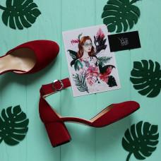 Босоножки из велюра цвета ягода на низком каблуке Арт. 605-6/47Ok