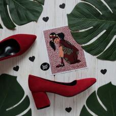 Туфли из велюра цвета ягода на обтяжном каблуке с острым носиком Арт. 657-1/47Ok
