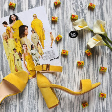 Босоножки из замши цвета лимон с обтяжным каблуком Арт. 853-3/48Ок