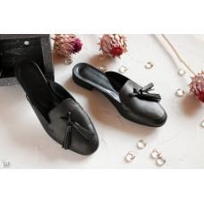 Мюли из черной кожи с декоративными кисточками Арт. 156-2Hil