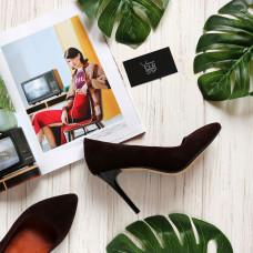 Туфли на шпильке из коричневой замши Арт. 35-1