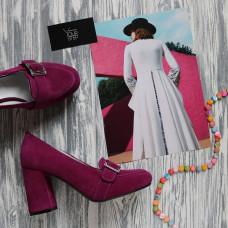 Туфли из замши цвета слива с фурнитурой и обтяжным каблуком Арт. 853-5/48Ок