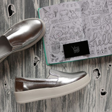 Слипоны из велюра цвета серебро на высокой подошве Арт. 15-1/143