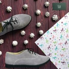 Туфли из замши серо-лилового цвета на черной подошве Арт. 01-8R