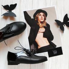 Туфли из кожи и лаковой кожи черного цвета Арт. 100-1
