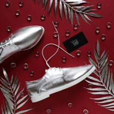 Туфли из велюра цвета серебро с узким носом Арт. 16-1