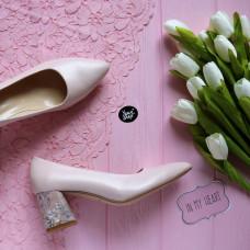 Туфли из кожи цветы пудры на обтяжном принтовом каблуке с острым носиком Арт. 657-1/47Ok