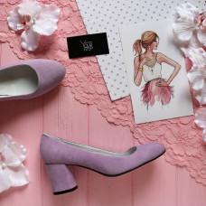Туфли из лилового велюра на низком каблуке Арт. 605-4/45Ок