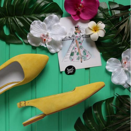 Босоножки из замши цвета лимон с острым носом Арт.: 17-5