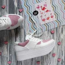 Кроссовки из белой кожи с розовыми вставками из велюра Арт. 15-2/21873