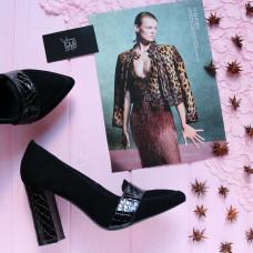 Туфли на устойчивом каблуке черного цвета Арт. 35-8/44Ok-Os