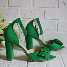 Босоножки из велюра цвета зеленый луг  с бантом на обтяжном каблуке Арт. 95-11(2)/24Ок-Бант