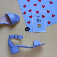 Босоножки из голубой кожи на обтяжном каблуке Арт.: 615-3/415-32Ок