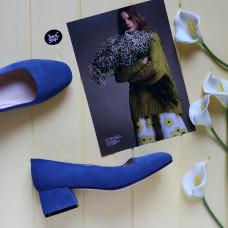Туфли из замши цвета джинс на низком каблуке Арт. 456-1/53Ок