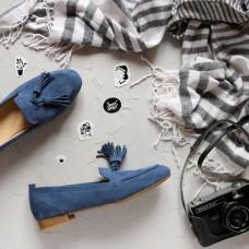 Лоферы из замши цвета джинс с декоративными кисточками Арт. 156-1Hill