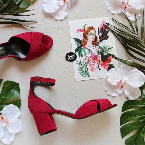 Босоножки из замши цвета ягода на низком каблуке Арт. 605-10/45Ок