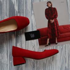 Туфли из красной замши на низком каблуке Арт. 456-1/53Ок