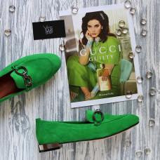 Лоферы из велюра цвета зеленый луг с фурнитурой Арт. 156-1-018016