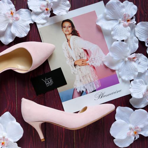 Туфли из велюра розового цвета на шпильке с острым носиком Арт. 657-2/36