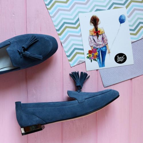 Лоферы из замши цвета джинс с декоративными кисточками Арт. 156-1