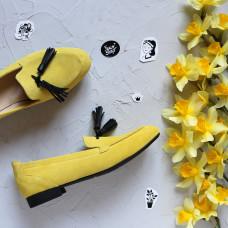 Лоферы из замши цвета лимон с декоративными черными кисточками Арт. 156-1Hill