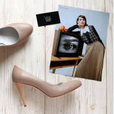 Туфли на шпильке из темно-бежевой кожи Арт. 95-1/35