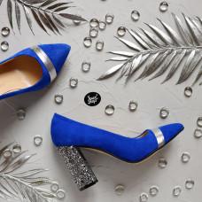 Туфли из ярко-синей замши с серебряными вставками Арт. 35-1/44Ок-3660б/ф