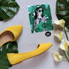 Балетки из замши цвета лимон с узким носом Арт.: 17-4