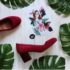 Туфли из замши цвета ягоды на низком лаковом каблуке Арт. 605-4/45Ок