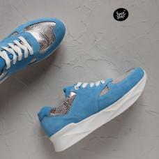 Кроссовки из голубой замши с принтовыми вставками Арт. 15-2