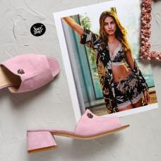 Мюли из розового велюра на низком каблуке Арт. 456-2/53Ок