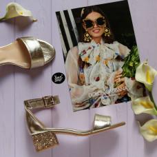 Босоножки из золотой кожи на блестящем обтяжном каблуке Арт.: 615-3/415-32Ок