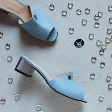 Мюли из голубой кожи на серебряном каблуке Арт. 456-2/42Ser