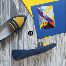 Балетки из замши цвета джинс с желтой вставкой Арт. 16-3