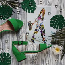 Босоножки из велюра цвета зеленый луг на обтяжном каблуке Арт.: 615-3/415-32Ок