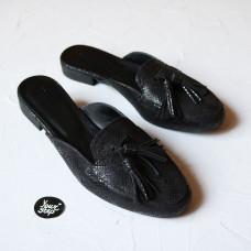 Мюли из черного нубука с принтом под питон с декоративными кисточками Арт. 156-2Hil