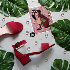 Босоножки из замши цвета ягода на обтяжном каблуке Арт.: 615-3/415-32Ок