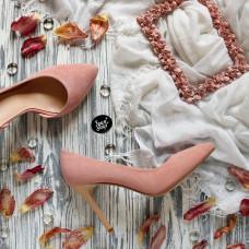 Туфли из велюра цвета персик на шпильке Арт. 35-5