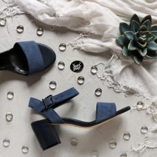Босоножки в комбинации из замши цвета джинс и кожи синего цвета Арт.: 615-1Ок