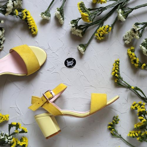 Босоножки из замши цвета лимон Арт.: 615-1Ок