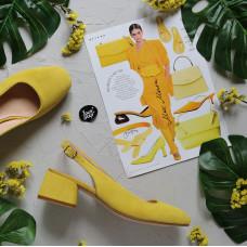 Босоножки из замши цвета лимон на низком каблуке Арт. 456-4/53Ок
