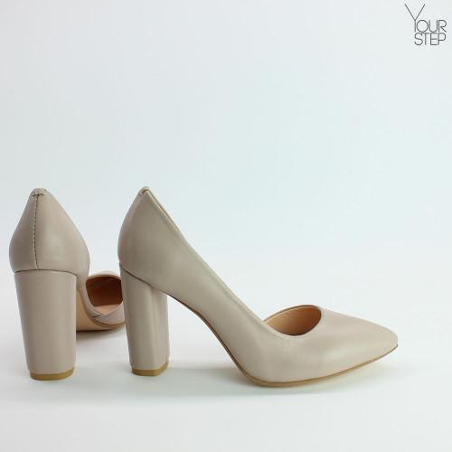 Туфли на обтяжном каблуке из бежевой кожи Арт. 35-5/24Ок