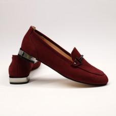 Лоферы из нубука бордового цвета с фурнитурой Арт. 156-1-2578